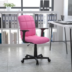 Flash Furniture Quilted Vinyl Mid-Back Swivel Task Chair, Pink/Black