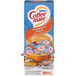 Nestlé® Coffee-mate® Single Serve Liquid Creamer, Pumpkin Spice Flavor, 0.38 Oz, Carton Of 50