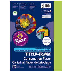"Tru-Ray® Construction Paper, 50% Recycled, 9"" x 12"" Brilliant Lime, Pack Of 50"