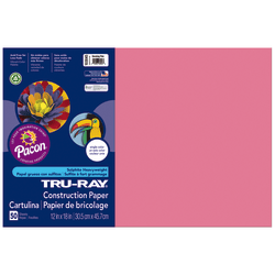 "Tru-Ray® Construction Paper, 50% Recycled, 12"" x 18"", Shocking Pink, Pack Of 50"