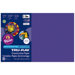 "Tru-Ray® Construction Paper, 50% Recycled, 12"" x 18"", Purple, Pack Of 50"