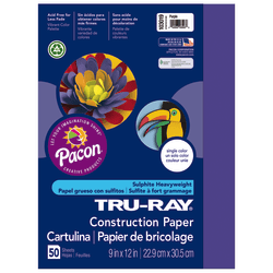 """Tru-Ray® Construction Paper, 50% Recycled, 9"""" x 12"""", Purple, Pack Of 50"""