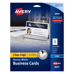 """Avery® Inkjet Clean-Edge Business Cards, 2-Sided, 2"""" x 3 1/2"""", White Gloss, Pack Of 200"""
