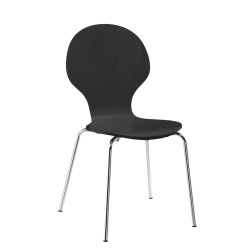 DHP Bentwood Shell Chairs, Black/Silver, Set Of 2