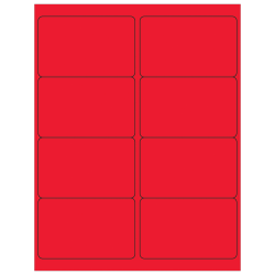"""Office Depot® Brand Labels, LL179RD, Rectangle, 4"""" x 2 1/2"""", Fluorescent Red, Case Of 800"""