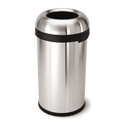 """simplehuman® Bullet Round Heavy-Gauge Open-Top Commercial Trash Can, 16 Gallons, 29-4/5""""H x 16-1/10""""W x 15-4/5""""D, Brushed Stainless Steel"""