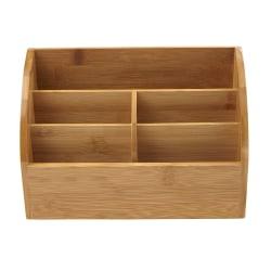 Mind Reader 5-Compartment Bamboo Desk Storage Organizer, Brown