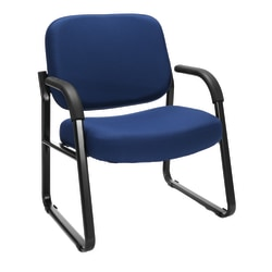 OFM Big And Tall Reception Chair With Arms, Navy/Black
