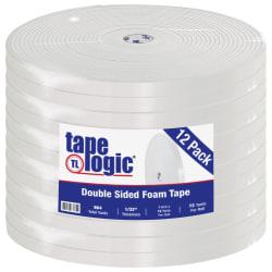 """Tape Logic® Double-Sided Foam Tape, 3"""" Core, 1"""" x 216', White, Case Of 12"""