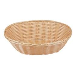 "Tablecraft Oval Woven Plastic Baskets, 2-1/4""H x 6""W x 9""D, Beige, Pack Of 12 Baskets"