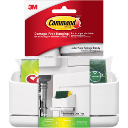 "Command Under Sink Sponge Caddy - 9.4"" Height x 12"" Width x 7.8"" Depth - Cabinet, Sink, Hanging - White - 1Pack"