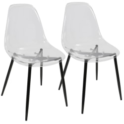 LumiSource Clara Dining Chairs, Black/Clear, Set Of 2 Chairs