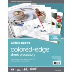 "Office Depot® Brand Colored-Edge Sheet Protectors, 8-1/2"" x 11"", Clear, Pack Of 25"