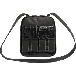 """Mobile Edge Crossbody Tech Carrying Case (Messenger) for 10"""" to 11"""" iPad - Vegan Leather, Faux Croc, Cotton Twill Interior, Poly Fur Interior - Black Crocodile - Shoulder Strap - 12"""" Height x 10"""" Width x 3"""" Depth"""