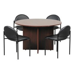Boss Office Products Conference Table with 4 Chairs, Mahogany/Black