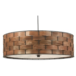 """Kenroy Shaker Hanging Pendant Lamp, 3-Light, 7""""H, Brown Shade, Black Base"""