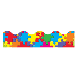 """TREND Terrific Trimmers® Borders, 2 1/4"""" x 39"""", Jigsaw, Pre-K - College, Pack Of 12"""