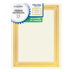 """Geographics Foil Certificates, 8-1/2"""" x 11"""", Rome Gold, Pack Of 15"""