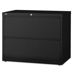 "Lorell® Fortress 36""W Lateral 2-Drawer File Cabinet, Metal, Black"