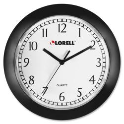 "Lorell® 9"" Round Profile Wall Clock, Black"