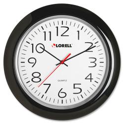 "Lorell® 13-1/4"" Round Quartz Wall Clock, Black"