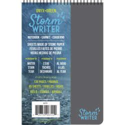 """Roaring Spring Storm Writer 4""""x6"""" Notebook - Twin Wirebound - 6"""" x 4"""" - Water Resistant, Stain Resistant - 1Each"""