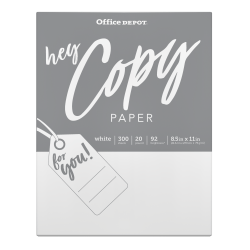 "Office Depot® School Copy And Print Paper, Letter Size (8 1/2"" x 11""), 104 (Euro)/92 (US) (U.S.) Brightness, 20 Lb, Ream Of 300 Sheets"