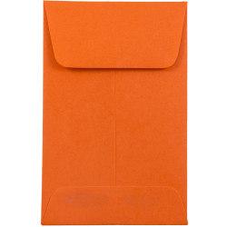 JAM Paper® Coin Envelopes, #1, Gummed Seal, Orange, Pack Of 25