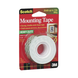 "Scotch® Foam Mounting Tape, 1"" x 50"", White"