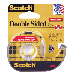 "Scotch® 137 Photo-Safe Double-Sided Tape In Dispenser, 1/2"" x 450"", Clear"
