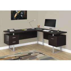 Monarch Specialties L-Shaped Corner Computer Desk With 2 Drawers, Cappuccino
