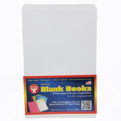 """Hygloss Mighty Brights™ Paperback Blank Books, 5"""" x 8"""", 32 Pages (16 Sheets), White, Pack Of 20"""