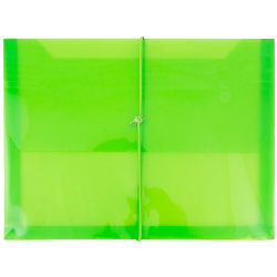 """JAM Paper® Plastic Booklet Envelope With Bungee Closure, Letter-Size, 9 3/4"""" x 13"""", Lime Green"""