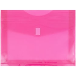 """JAM Paper® Plastic Booklet Envelopes With Hook & Loop Closure, Letter-Size, 9 3/4"""" x 13"""", Fuchsia Pink, Pack Of 12"""