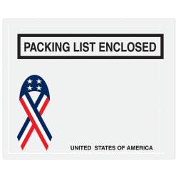 """Office Depot® Brand Packing List Envelopes, 7"""" x 5 1/2"""", USA Flag, Pack Of 1,000"""