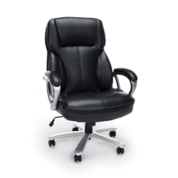 OFM Essentials Big And Tall Bonded Leather High-Back Chair, Black/Silver
