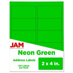 "JAM Paper® Rectangular Mailing Address Labels, 2"" x 4"", Neon Green, Pack Of 120"