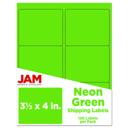 """JAM Paper® Mailing Address Labels, 3 1/3"""" x 4"""", Neon Green, Pack Of 120"""