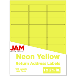"""JAM Paper® Mailing Address Labels, 1"""" x 2 5/8"""", Neon Yellow, Pack Of 120"""