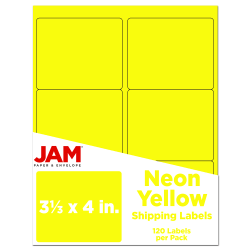 "JAM Paper® Mailing Address Labels, 3 1/3"" x 4"", Neon Yellow, Pack Of 120"