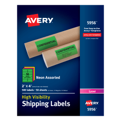 """Avery® High-Visibility Permanent Shipping Labels, 5956, 2"""" x 4"""", Assorted Colors, Pack Of 500"""