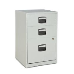 """Bisley 14-13/16""""D Vertical 3-Drawer Under-Desk Storage Cabinet, Metal, Light Gray"""