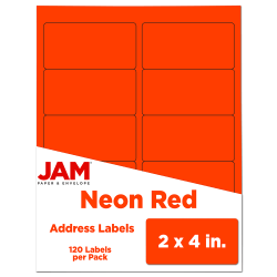 """JAM Paper® Rectangular Mailing Address Labels, 354328034, 2"""" x 4"""", Neon Red, Pack Of 120"""
