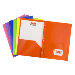 """JAM Paper® Plastic 2-Pocket POP Folders With Prongs, Letter Size, 9-1/2"""" x 11-1/2"""", Assorted Primary Colors, Pack Of 6 Folders"""