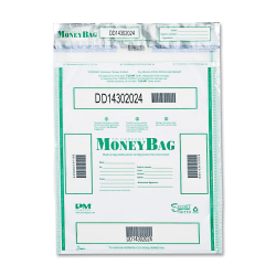 """PM Tamper-evident Deposit Bags - 9"""" Width x 12"""" Length - Clear - 100/Pack - Currency"""