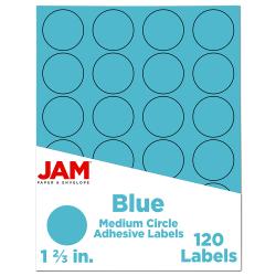 "JAM Paper® Circle Label Sticker Seals, 1 2/3"", Blue, Pack Of 120"