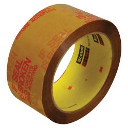 "3M™ 3732 Preprinted Carton Sealing Tape, 3"" Core, 2"" x 55 Yd., Tan/Red, Case Of 6"