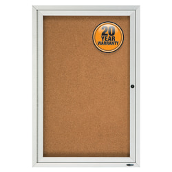 "Quartet® Enclosed Outdoor 1-Door Bulletin Board, 36"" x 24"", Aluminum Frame With Silver Finish"
