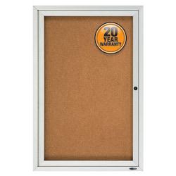 "Quartet Enclosed Outdoor Bulletin Board, 1 Door, 36""H x 24""W"