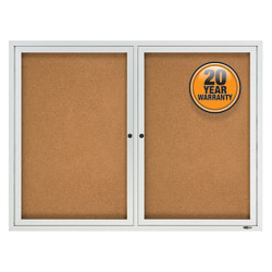 "Quartet® Enclosed Outdoor 2-Door Bulletin Board, 36"" x 48"", Aluminum Frame With Silver Finish"
